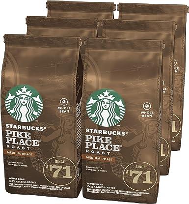STARBUCKS PIKE PLACE Café de grano entero de tostado medio, 6 x bolsa de 200g: Amazon.es: Alimentación y bebidas