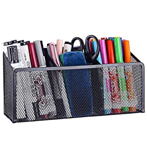 Magnetic Pencil Holder Magnetic Storage Basket with 3 Generous Compartments Organizer with Extra Strong Magnets -Perfect Mesh Pen Holder Perfect for Whiteboard, Refrigerator(Black)
