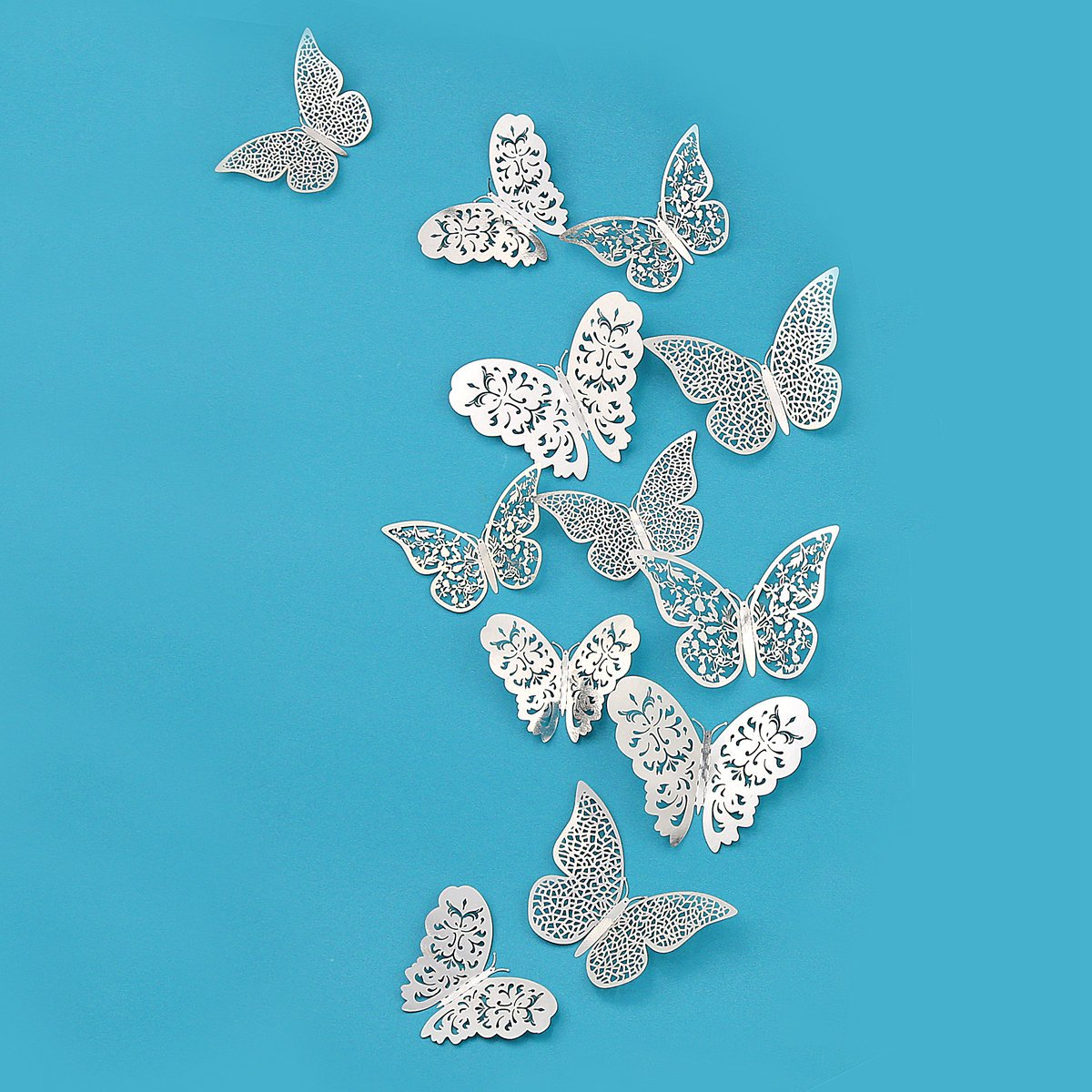 PinkBlume Silver Butterfly Decorations,3D Wall Decals,Metallic Art Sticker,DIY/Man-made/Removable/Decorative Paper Murals for Home,Bathroom,Livingroom,Kids/Girls Bedroom,Nursey,Party Décor.(36 PCS)