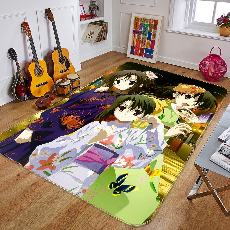 3D Cute Cartoon Girl 2 Japan Anime Game Non Slip Rug Mat Elegant Photo Carpet AU