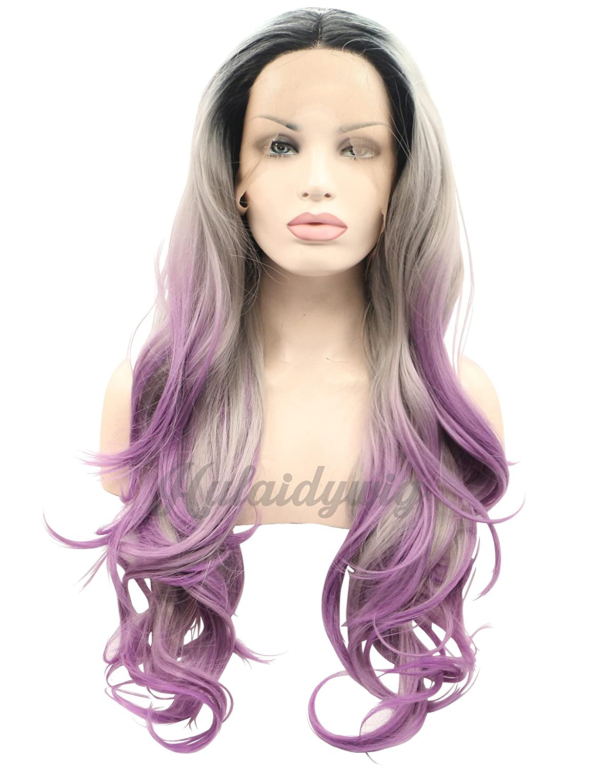 12d1df164 Amazon.com : Hulaidywig Women's Gray Purple Ombre Long Wavy Synthetic Lace  Front Wigs with Dark Roots Natural Full Hair : Beauty