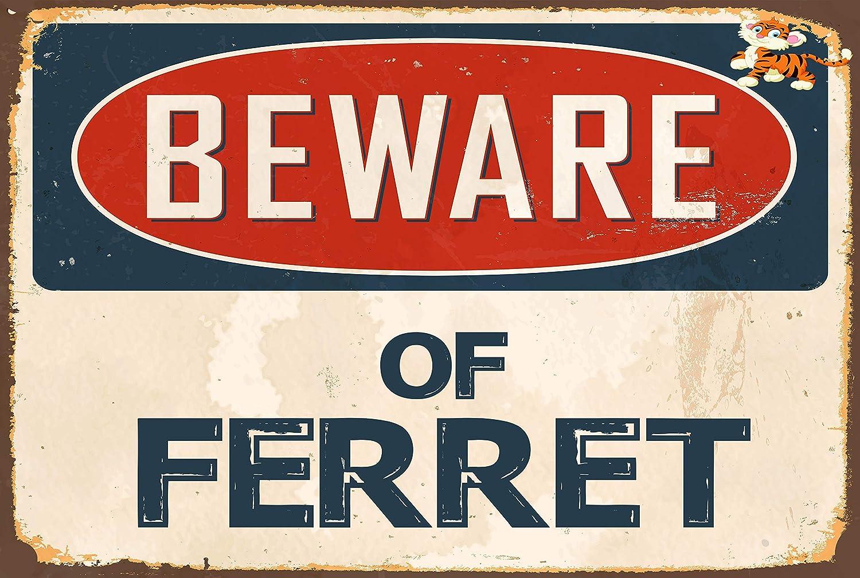"""*Aluminum* Beware Of Attack Ferret  4/"""" x 18/"""" Funny Metal Novelty Sign"""