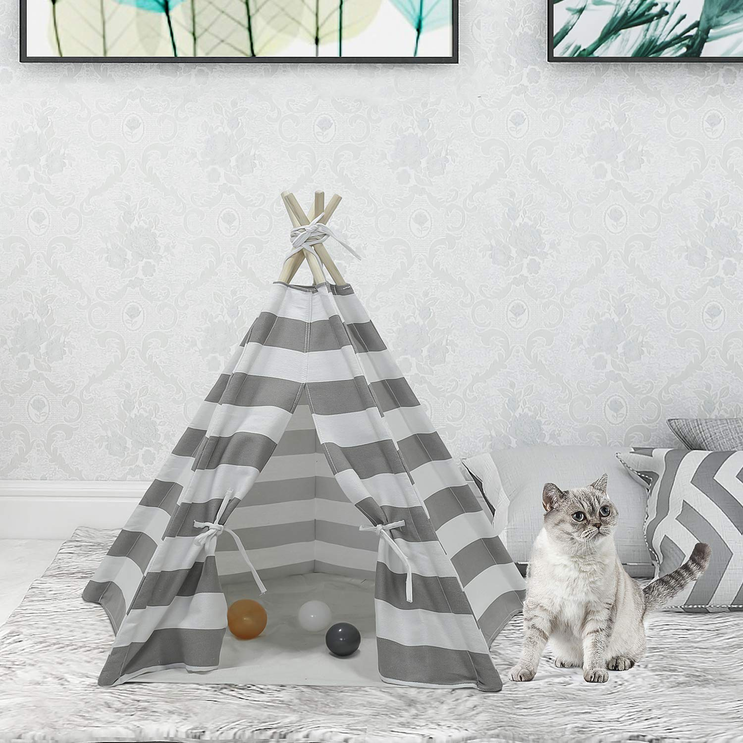 UKadou Pet Teepee Dog & Cat Bed Dog Tents Pet Houses with Mat, Grey & White Stripe Pet Teepee for Dogs