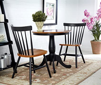 International Concepts 3 Piece 30u0026quot; Round Dining Set In Black/Cherry