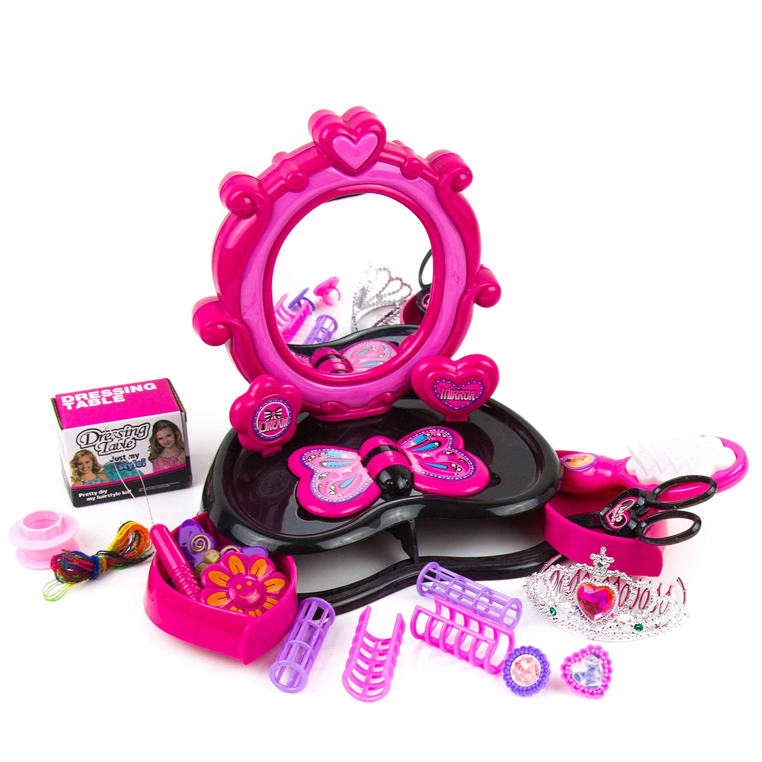 Toysery Girls Dressing Table - Comes with Lights, Sounds, Chair, Fashion and Makeup Accessories Materials - Great for Group Play - Perfect Dream Gift for Kids by Toysery