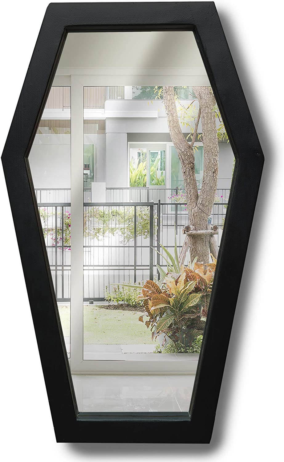 Heavy Rustic Coffin Mirror, Decent Wide Frame Matte Black Hexagon Mirror, Gothic Decor for Wall - Large and Sturdy - Weights About 3.5 Lbs, 21 Inches Tall