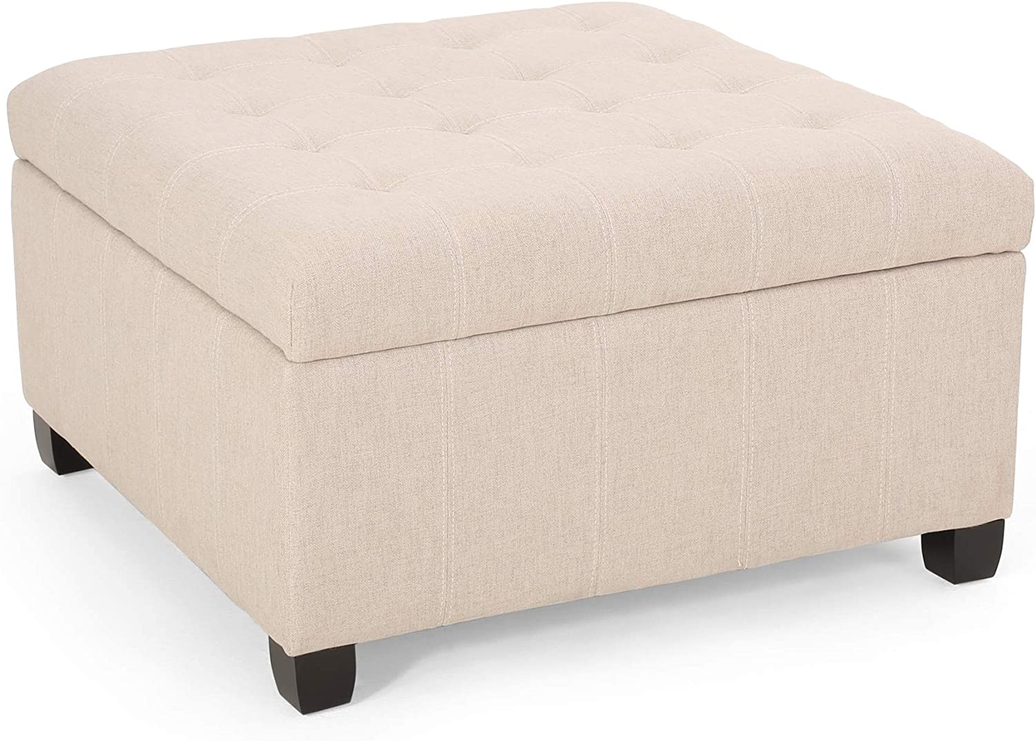 Christopher Knight Home Hedda Tufted Fabric Storage Ottoman, Wheat, Dark Brown