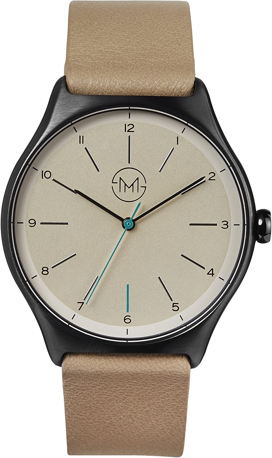 slim made one 12 – Black Case, Creme Dial, Beige Leather