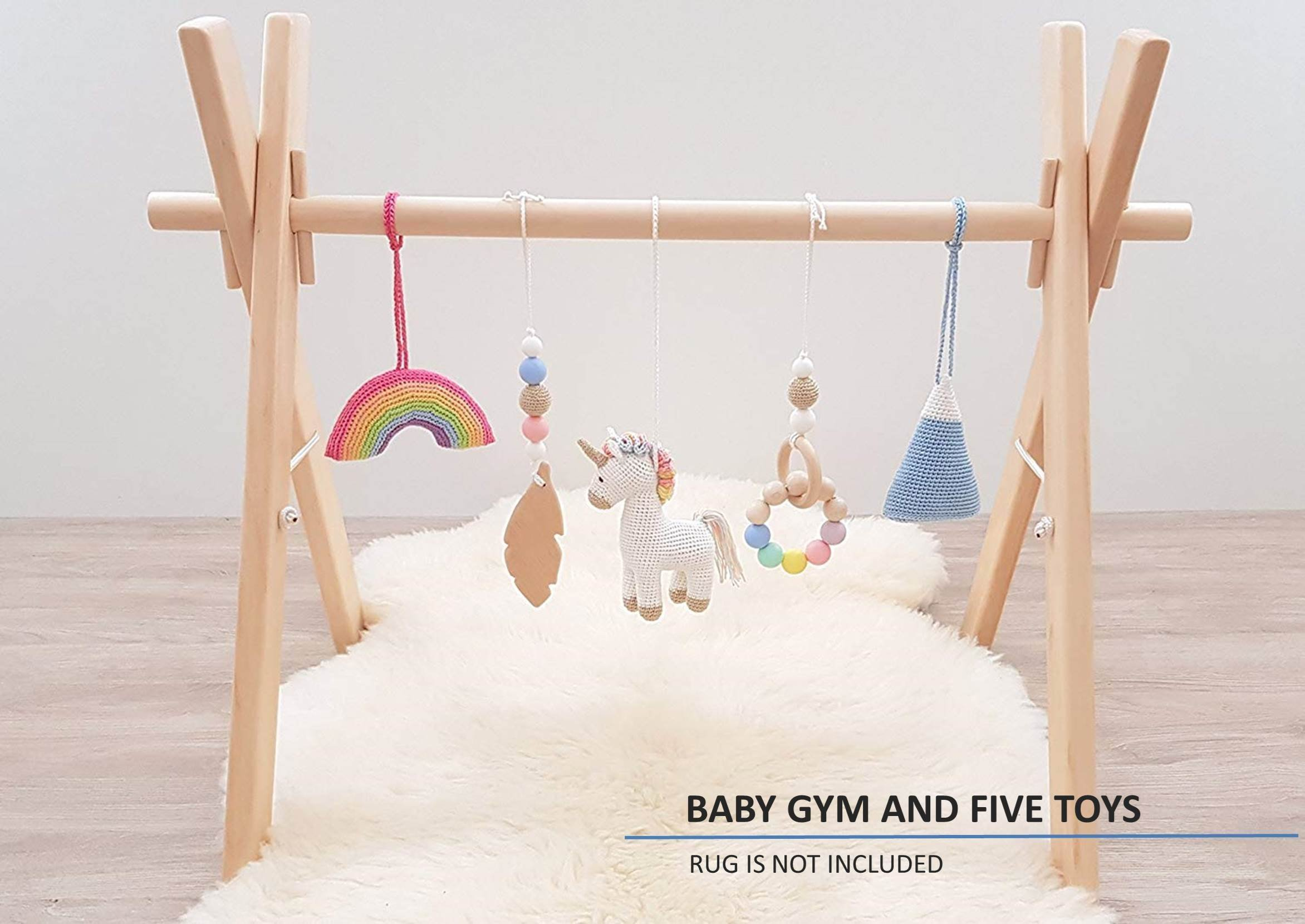 Rainbow Unicorn Baby play gym with 5 mobiles: Unicorn, Rainbow, Mountain, Feather, Beaded ring. Wooden baby gym. Crochet rattles. Infant activity center. Baby shower gift. Handmade