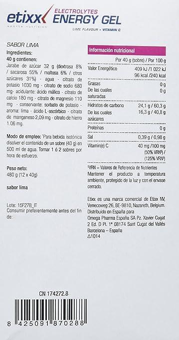 Etixx Isotonic Energy Gel, Sabor a Lima, 12 Geles