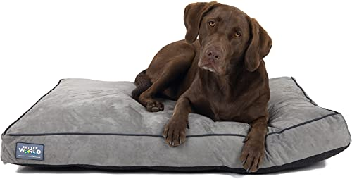 Better World Pets 5-inch Thick Orthopedic Dog Bed Pure Premium Shredded Memory Foam Ideal for Aging Dogs Waterproof Removable Washable Cover