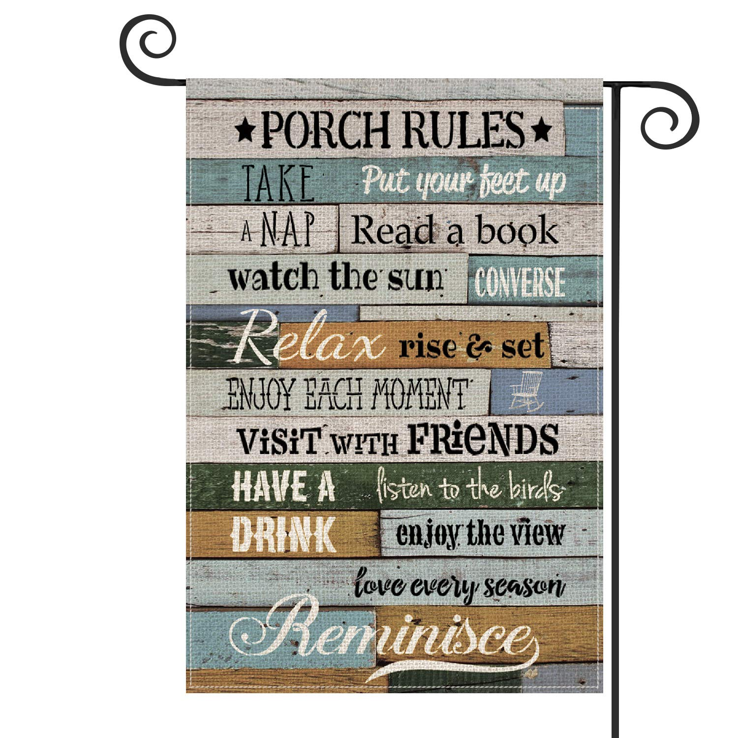 AVOIN Porch Rules Slogan Wood Garden Flag Vertical Double Sized, Enjoy The View Yard Outdoor Decoration 12.5 x 18 Inch