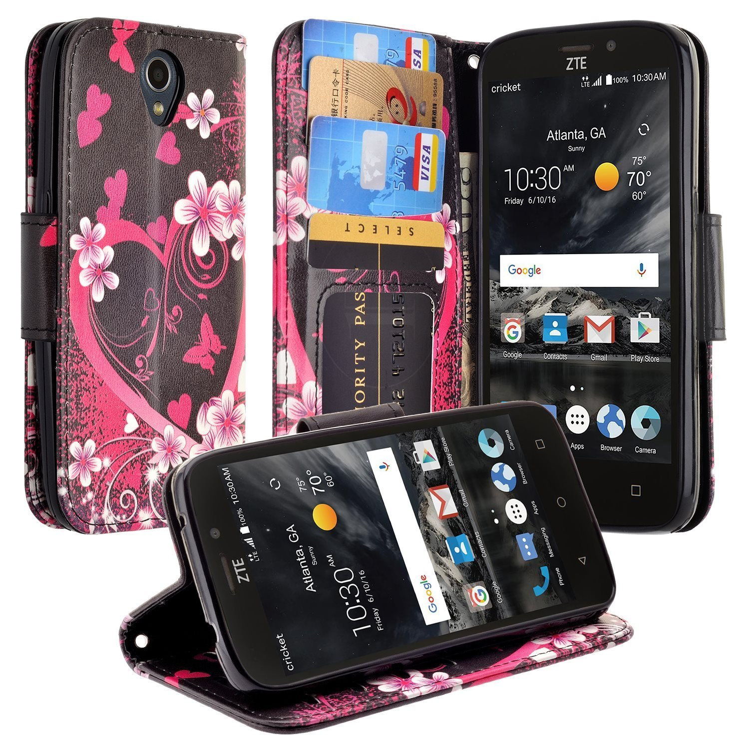 uk availability dcef2 4908d ZTE MAVEN 3 Case, ZTE OVERTURE 3 Case, Phonelicious ZTE MAVEN 3 Wallet PU  Leather Case Premium Pouch ID Credit Card Cover Flip Folio Book Style with  ...