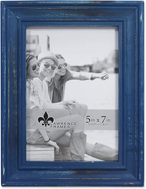 5 x 7 TEAL BLUE old vintage wood picture frame