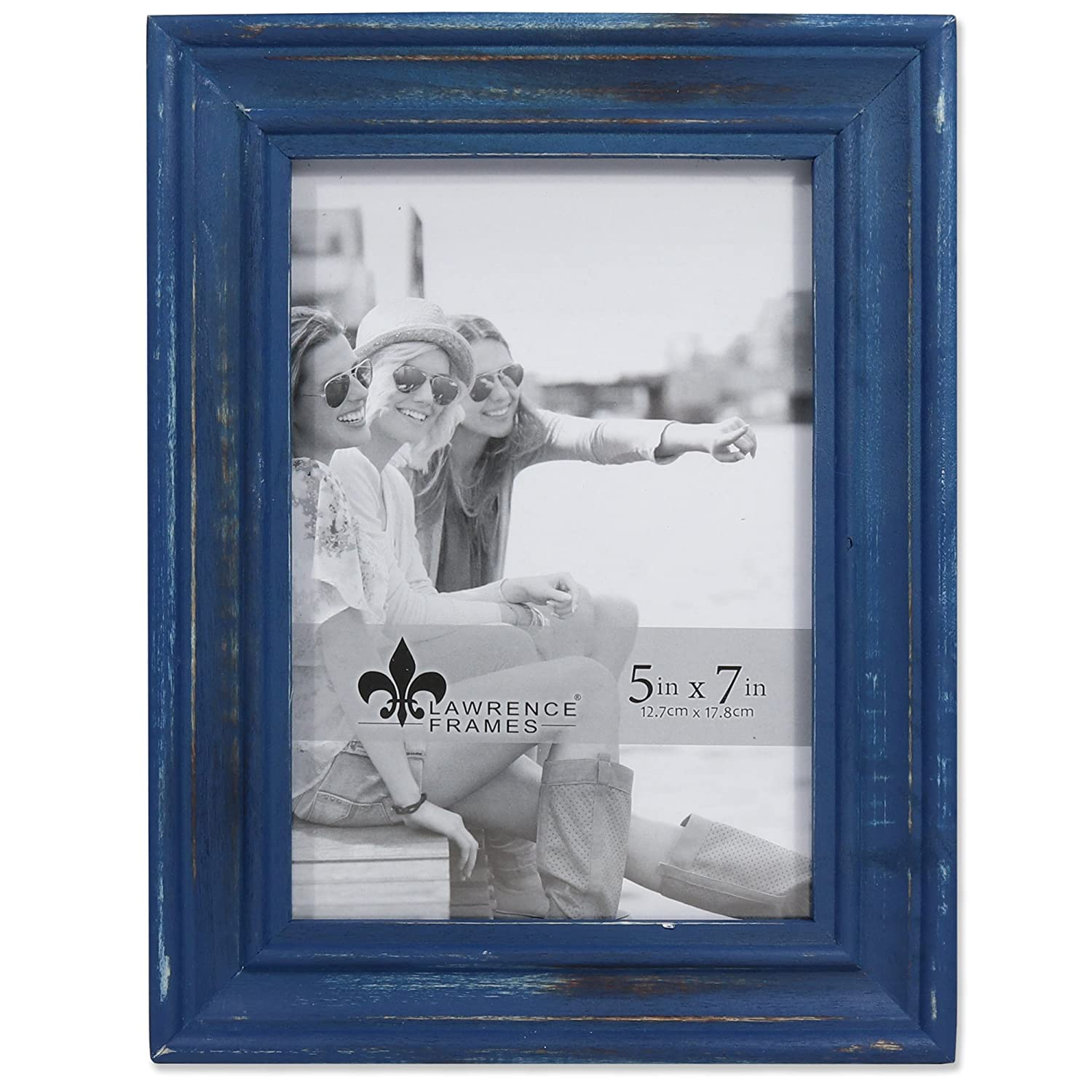 Lawrence Frames 5x7 Durham Weathered Navy Blue Wood Picture 746657