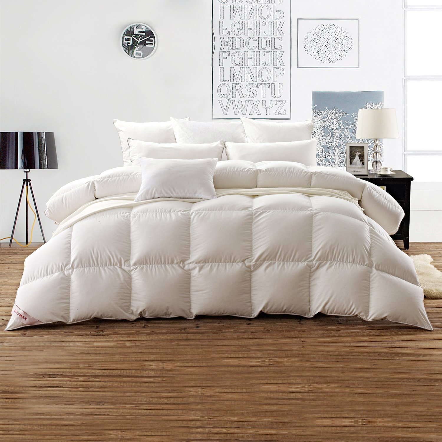 Snowman White Goose Down Comforter CAL King Size 100% Egyptian Cotton Shell Down Proof,600 Thread Count-Solid White Hypo-allergenic SNOWMANBEDDING GDC00106-WHITE