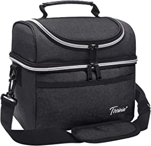 """Tirrinia Insulated Lunch Bag, Leakproof Thermal Bento Lunch Box Tote for Women, Men and Kids, Adults Work Office Cooler Bag, 10.2"""" x 7.5"""" x 9"""", Black"""