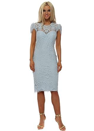 c21c5a08bf2 Goddess London Lace Cap Sleeve Midi Dress UK 12 Light Blue  Amazon.co.uk   Clothing