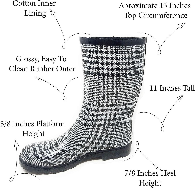 "Women Rubber Rain Boots - 11\"" Mid-Calf Ladies Classic Waterproof Outdoor Garden Shoes, Plaid & Prints Wellies"