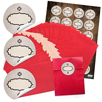 48 pequeñas papel Bolsas de papel rojas de plano bolsas de ...