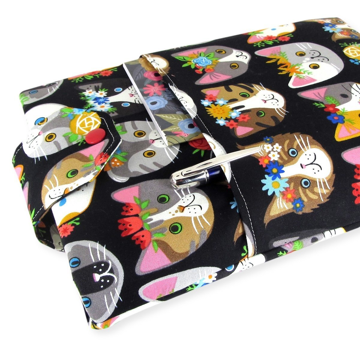 Handmade Fabric Book Sleeve - Perfect For Hardbacks Or Large Paperbacks - Padded, Cute Cat Fabric - Cool Book Lover Gift