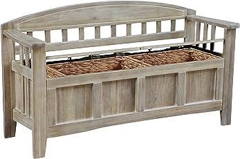 Linon BH137ACA01U Bench Natural Wash  sc 1 st  Amazon.com & Storage Benches | Amazon.com
