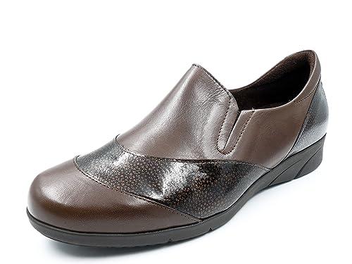 Zapato cómodo Mujer Tipo mocasín Marca Pitillos, en Piel Combi Charol Color marrón - 2800-4c: Amazon.es: Zapatos y complementos