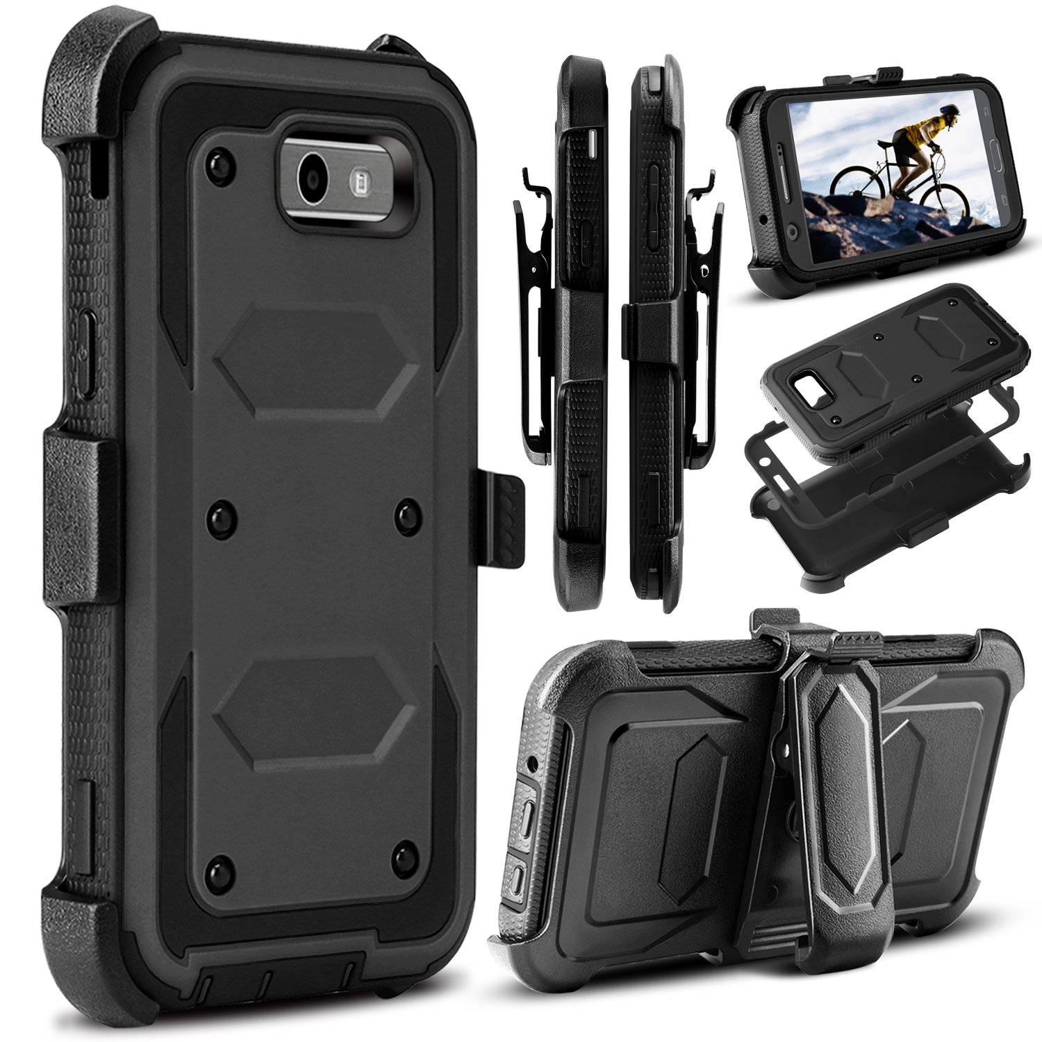 Storm Tank Holster Case Tempered Glass For Samsung Full Color Galaxy J3 Pro Cover Emerge 2017 Amp Prime 2 Venoro Heavy