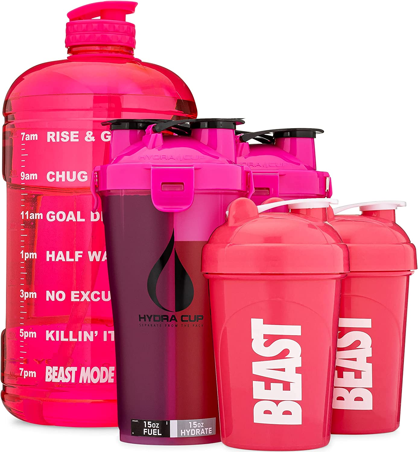Hydra Cup - [6 Pack] Pink Gallon Jug, Hydra Cup Dual Shakers, OG 20oz Shakers, & Resistance Bands, Combo Blender Pack