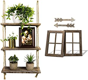 TIMEYARD Hanging Shelves with Window Frame and Arrow Wall Decor, 3 Tier Storage Organizer Shelves with Jute Rope, Farmhouse Home Decor for Living Room Bedroom Bathroom Kitchen