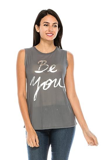 f989c6f7fbc760 The Classic Women Graphic Sleeveless Sheer See Through Tank Mesh Top Tee  Shirt (Small