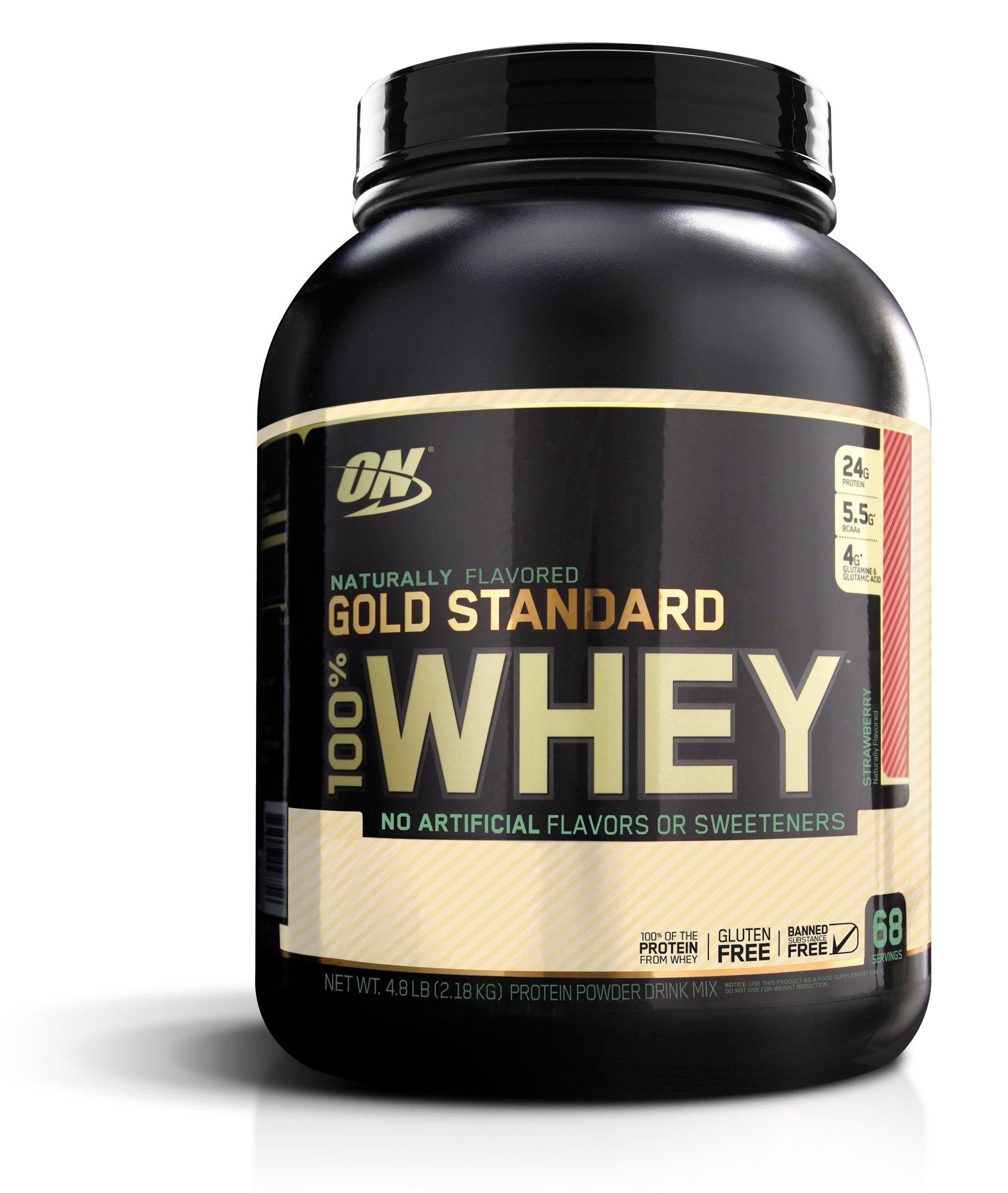 Optimum Nutrition Gold Standard 100% Whey Protein Powder, Naturally Flavored Strawberry, 4.8 Pound