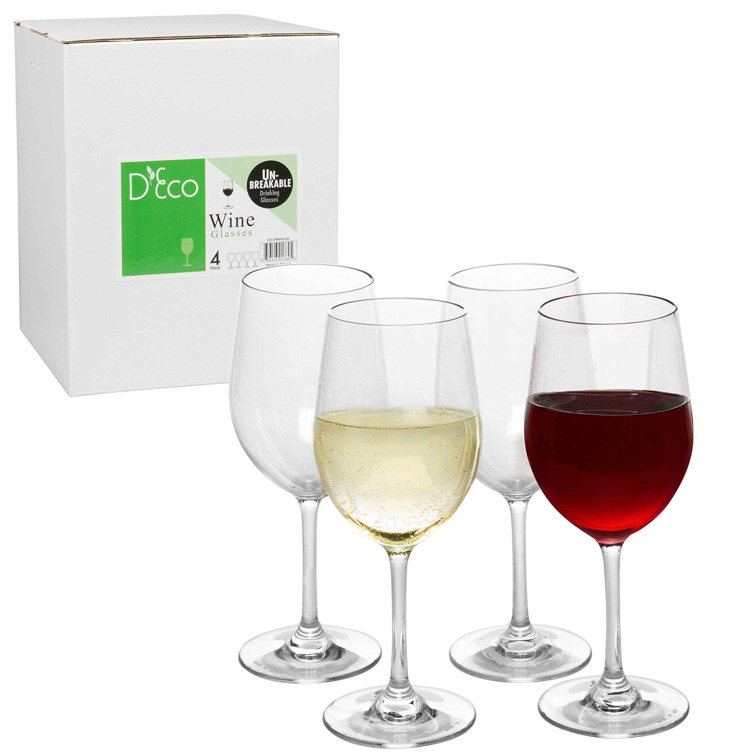 Unbreakable Wine Glasses - 100% Tritan - Shatterproof, Reusable, Dishwasher Safe (Set of 4) by D'Eco