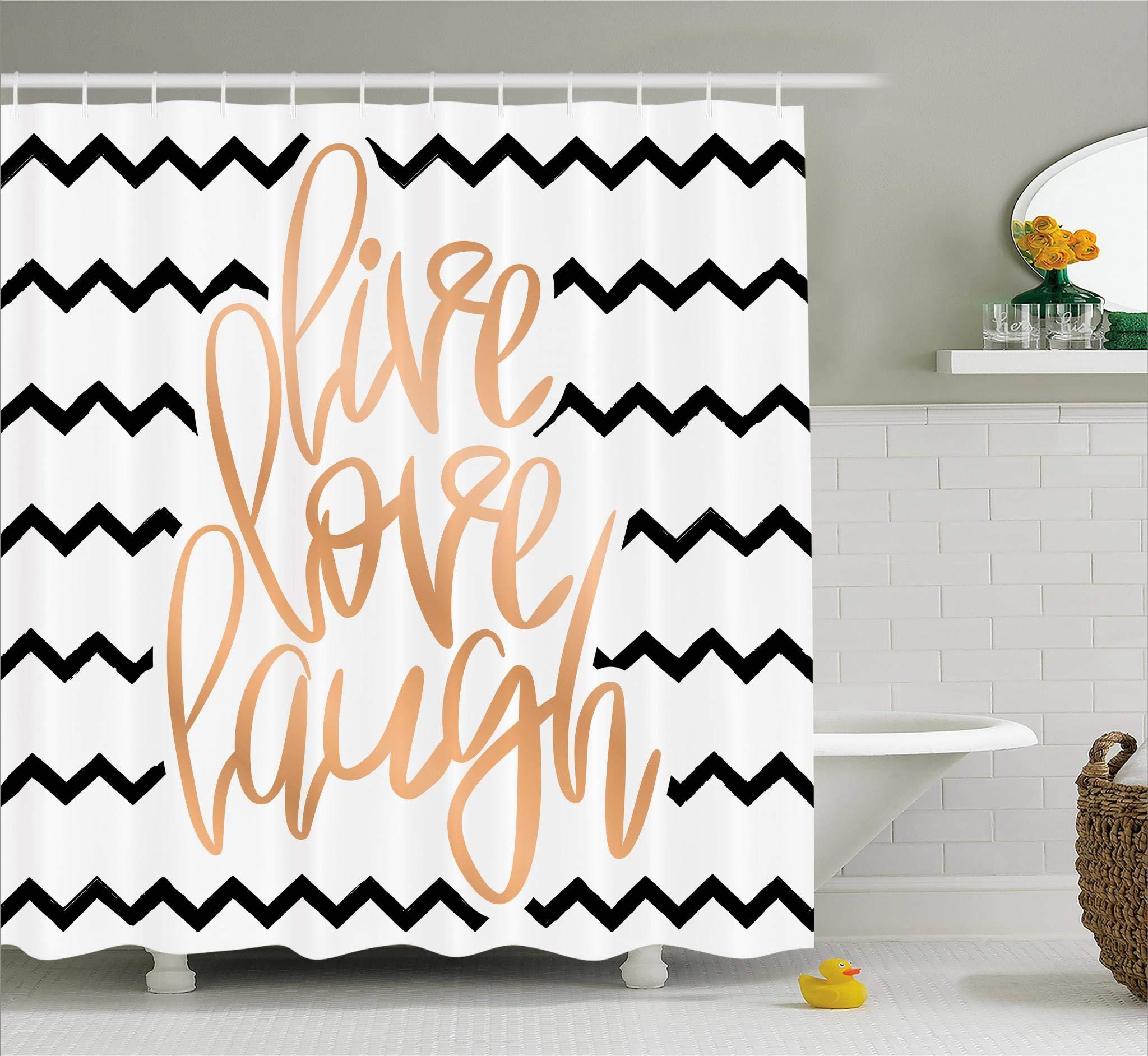 Ambesonne Live Laugh Love Decor Shower Curtain, Motivational Calligraphic Art Zigzags Chevron Stripes, Fabric Bathroom Decor Set Hooks, 70 inches, Black White Peach