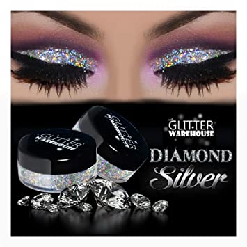 993c80d89a9 Amazon.com : GlitterWarehouse Glitter for Eyeshadow / Eye Shadow Shimmer  Makeup Powder Diamond Silver : Beauty