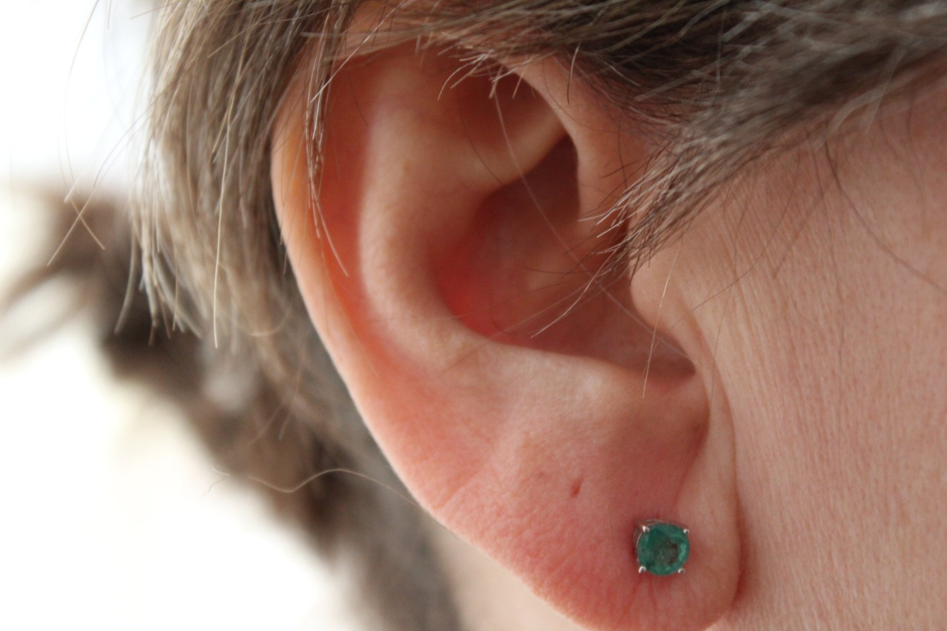 14K Solid White Gold Round 5.0mm Genuine AAA Emerald=1.00 ct. Stud Earrings by JewelMode (Image #3)
