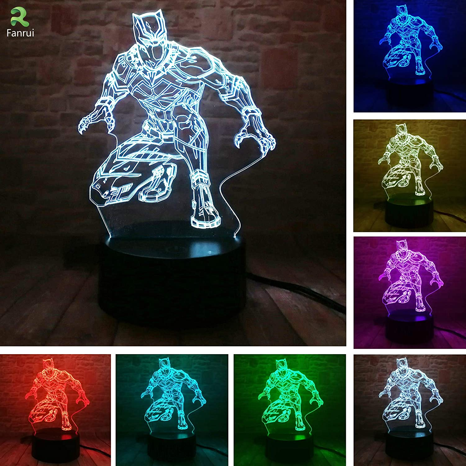 Fanrui Marvel Avengers Night Light - Black Panther Table Lamp - Marvel Superhero Action Figurines - Smart 16 Colors Change LED RGB Boys Man Bedroom Marvel Lantern Decor - Child Kids Xmas Toy Gifts