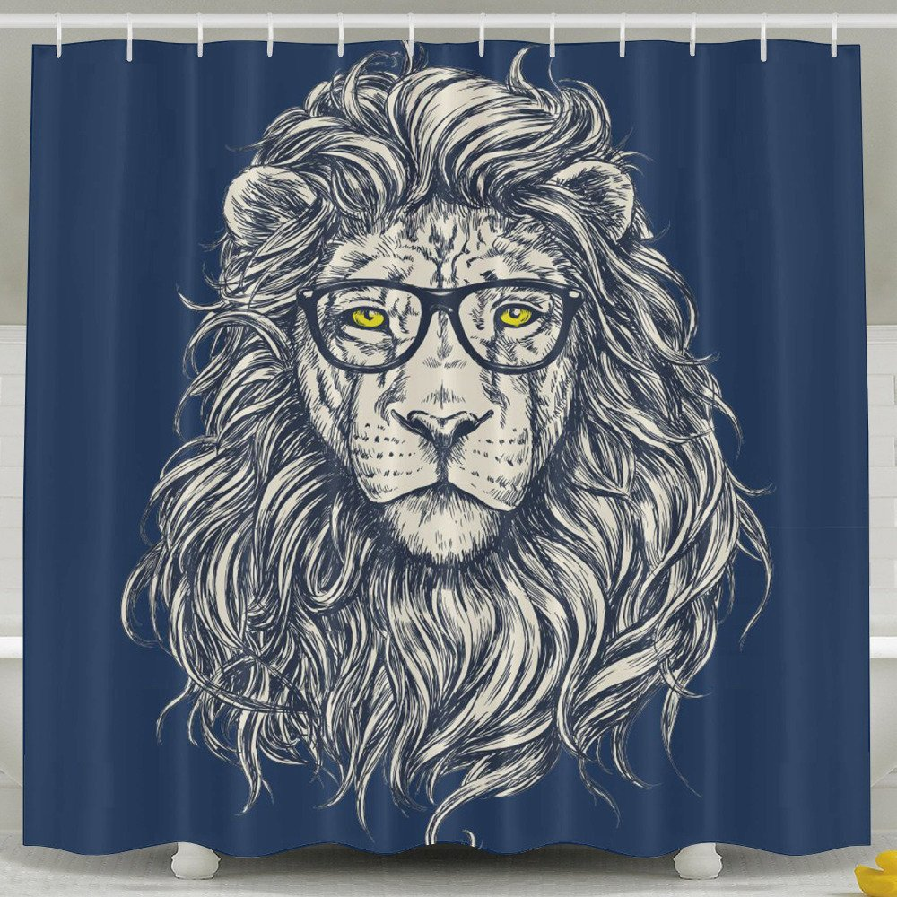 Waterproof Fabric Hipster Lion with Glasses Shower Curtain Liner Bathroom Hooks