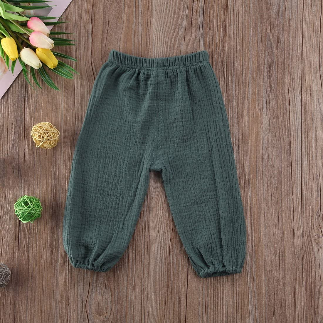 CHRONSTYLE Baby Cotton Linen Trousers Toddler Baby Boy Girl Casual Elastic Harem Trousers Summer Bloomers Clothing