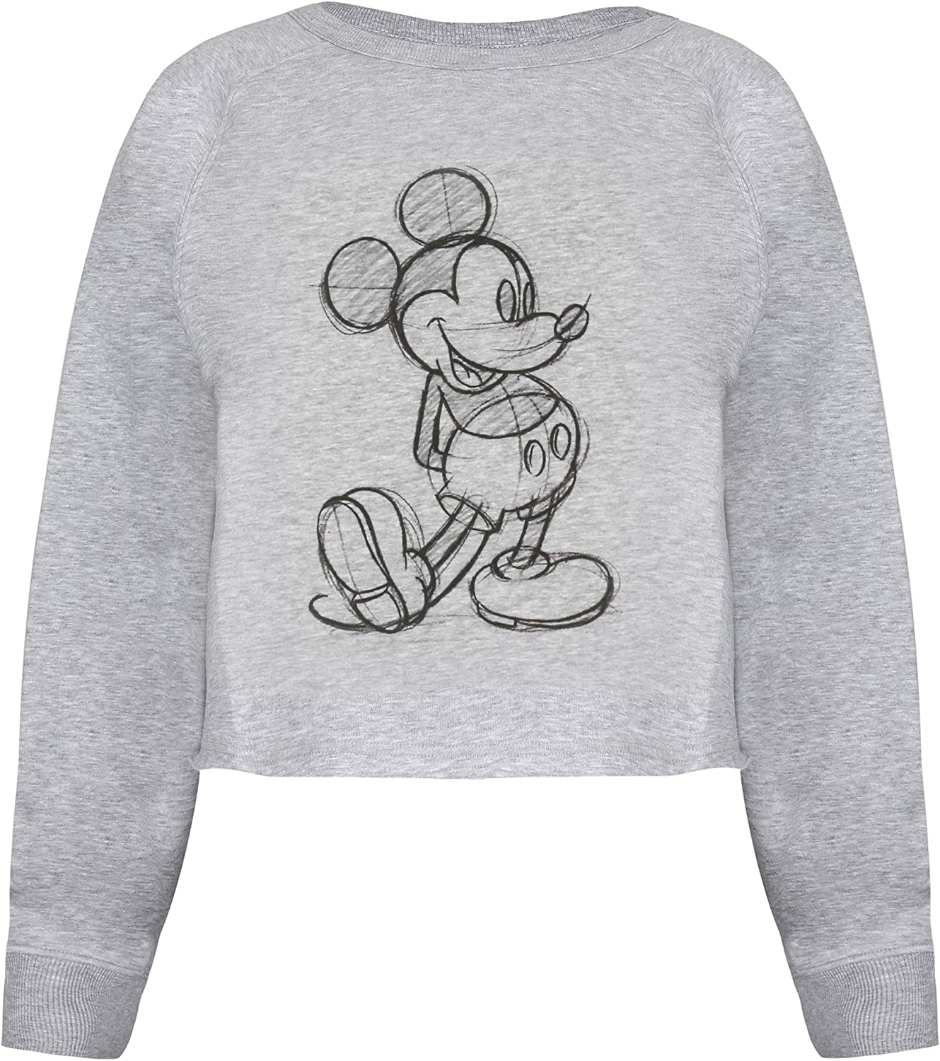 Disney Womens Mickey Sketch Cropped Crew Pullover Sweater