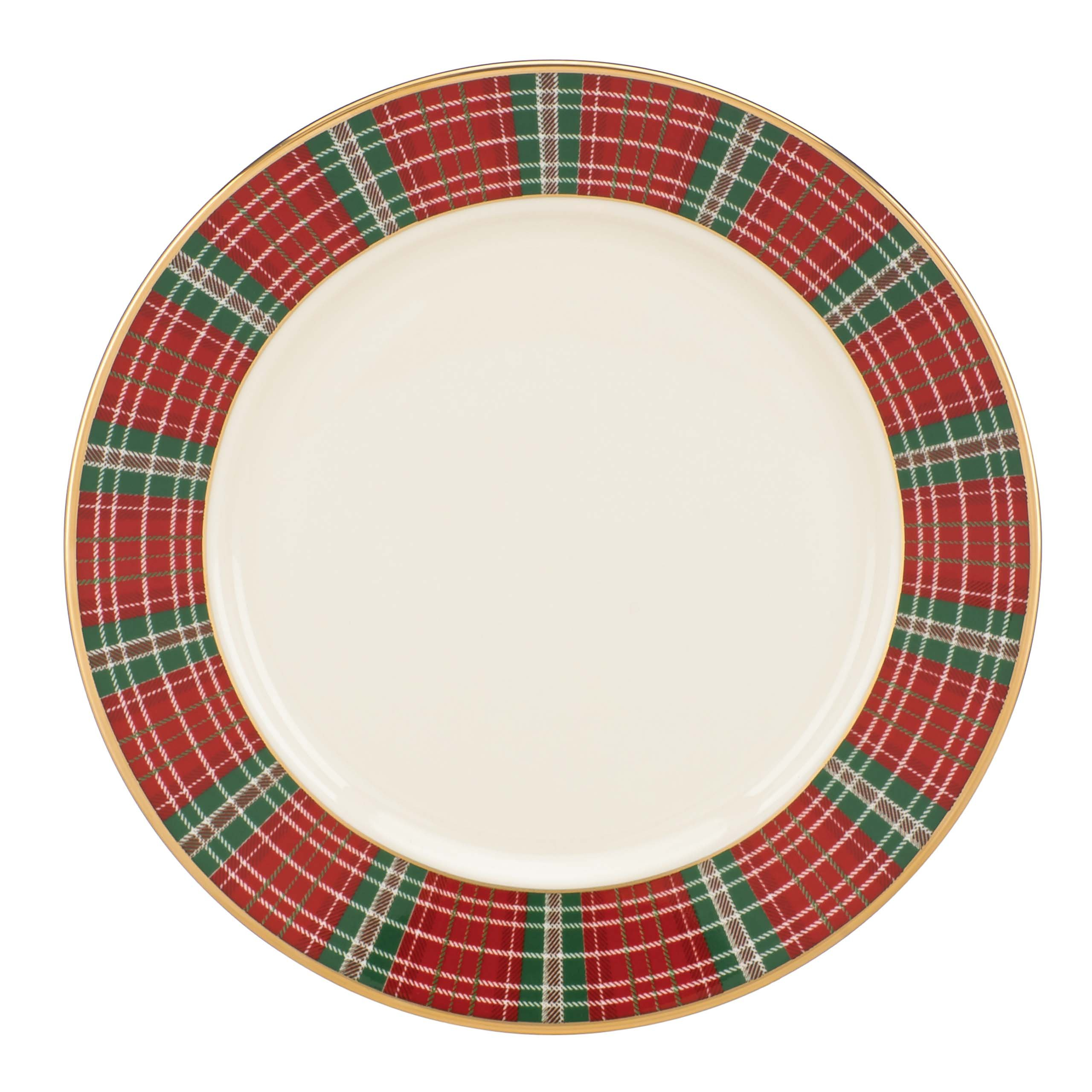 Lenox Winter Greetings Plaid Butter Plate, Ivory