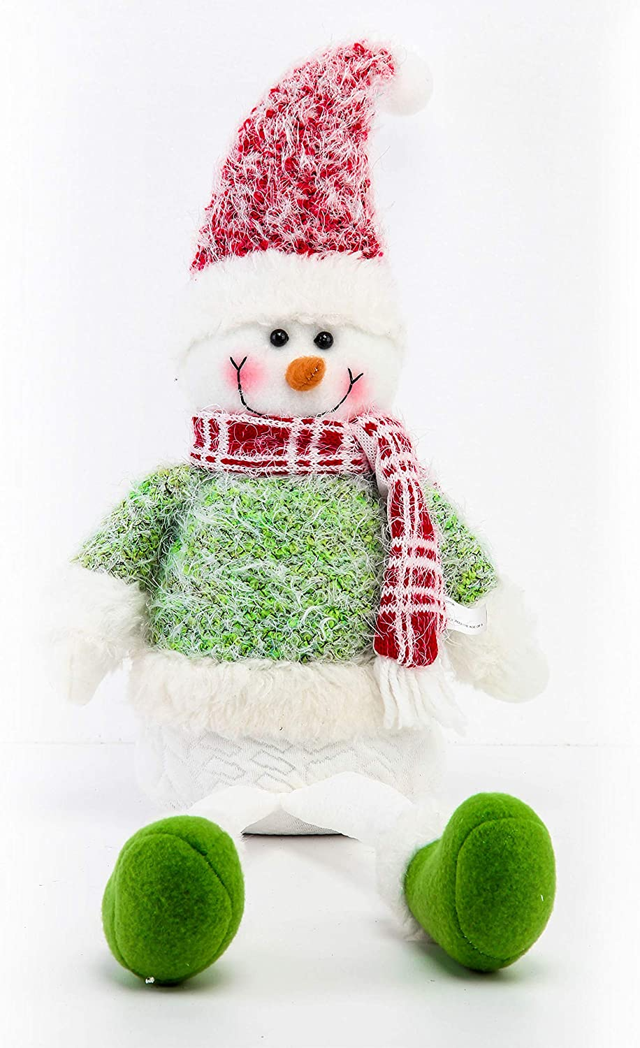 Costyleen Christmas Snowman Figure Plush Dolls Toy Xmas Decorations Ornaments Home Indoor Table Decor Party Tree Hanging Toys Gifts Collectible Festival Figurine Green 28.5 inches
