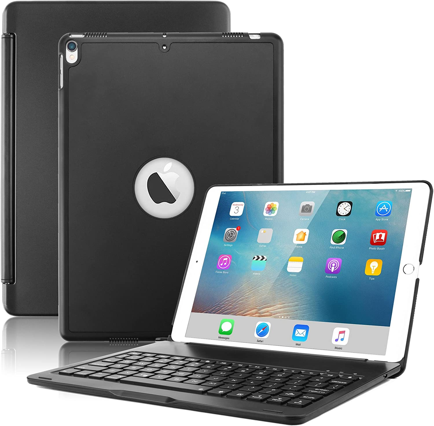 """New iPad Air 2019(3rd Generation) 10.5""""/iPad Pro 10.5"""" 2017 Keyboard Case,Boriyuan Protective Ultra Slim Hard Shell Folio Stand Smart Cover with 7 Colors Backlit Wireless Bluetooth Keyboard (Black)"""