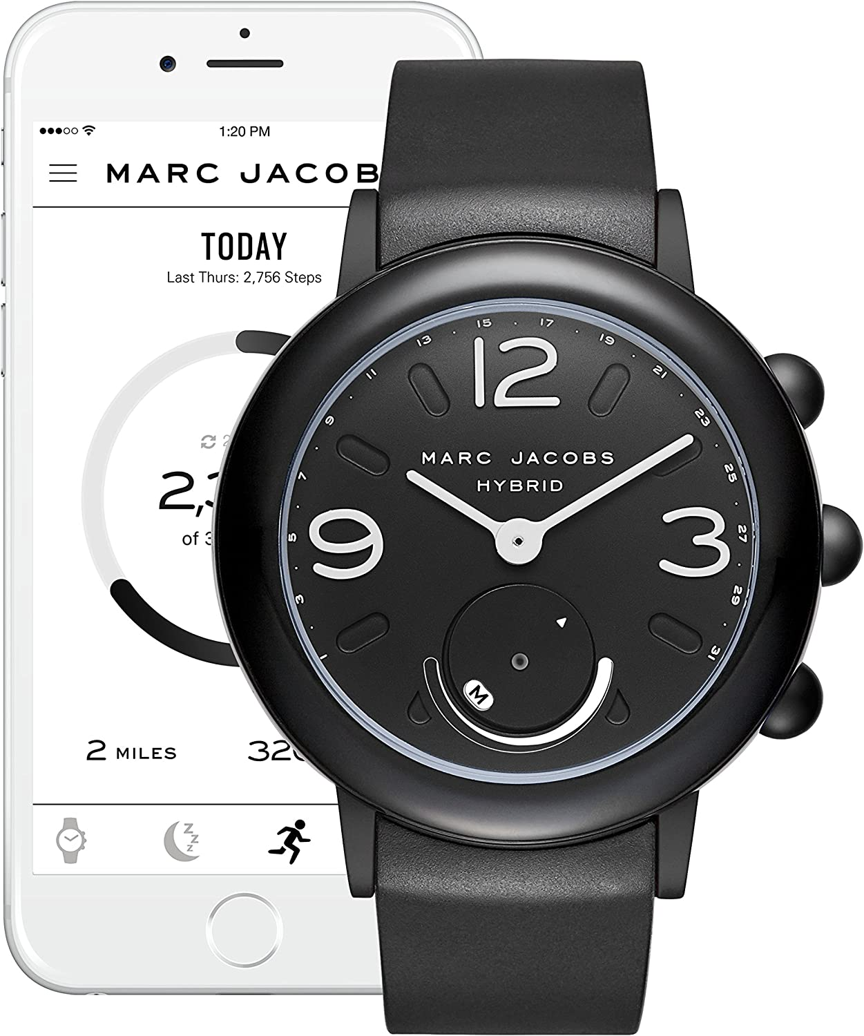 Marc Jacobs Women S Riley Aluminum And Rubber Hybrid Smartwatch Color Black Mjt1002 Amazon Ca Watches