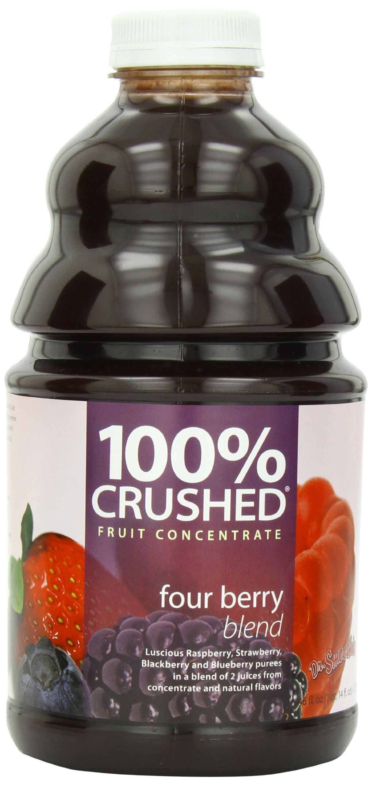 Dr. Smoothie 100% Crushed Fruit Smoothie, Four Berry, 46-Ounce Bottles
