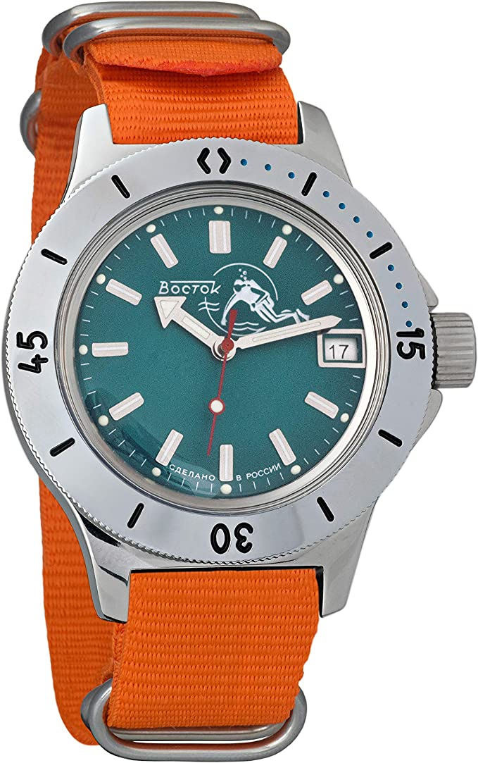Amazon.com: Vostok Amphibian Automatic Self-Winding Russian Military Wristwatch #120059 (Orange): Watches