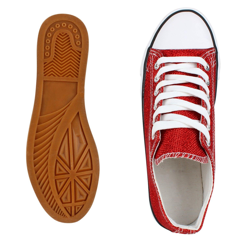 Japado Elegante Canvas Damen Sneakers Low Glitzer Canvas Elegante Schuhe Turnschuhe Freizeit Gr. 36-41 Rot Shiny Metallic 1371d2