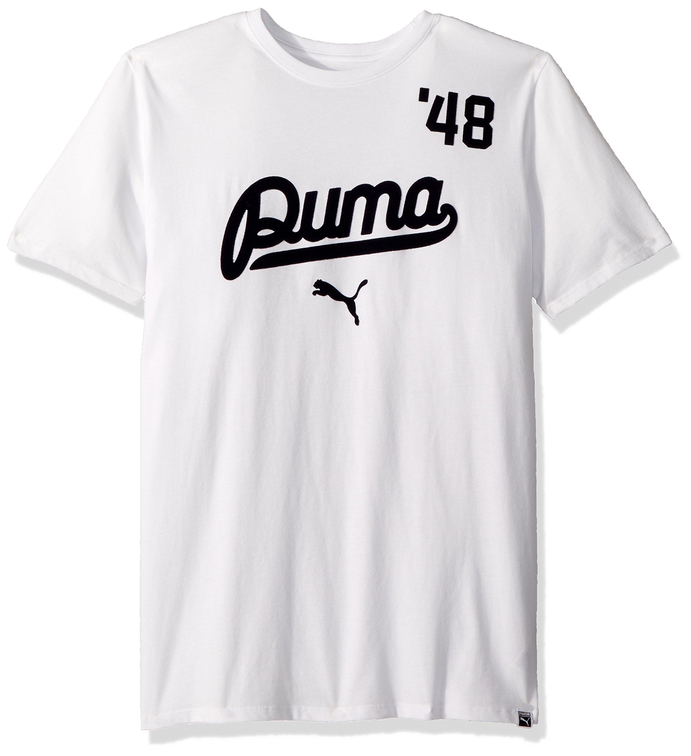 PUMA Men's Street Script T-Shirt, White/Peacoat, S