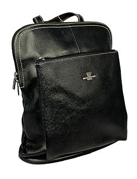 c3c9e891aa Genuine Italian Leather Rucksack Backpack Messenger Bag From Daniela Moda  37cmx31cmx13cm (Black)