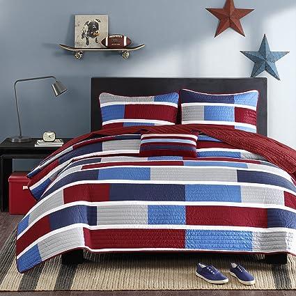 Mi Zone   Bradley Quilted Coverlet Set   Colorblocks Of Navy, Blue, Grey U0026